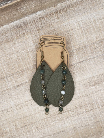 Olive Green Leather Earrings with Gemstone Chain