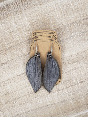 Grey Palm Leaf Textured Leather Earrings