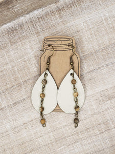 Cream Leather Earrings with Brown Gemstone Chain