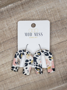Leopard and Pansies Cork Earrings