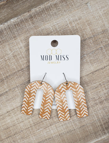 Mustard Chevron Cork Earrings