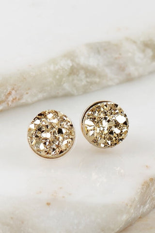 Rudi Round Druzy Stud Earrings