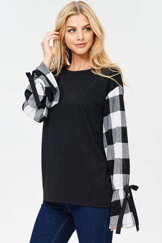 Bailey Plaid Sleeve and Solid Combination Top