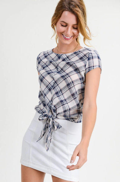 Blakely Plaid Front Tie Blouse