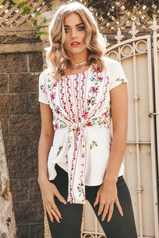 Georgia Tie Front Floral Top