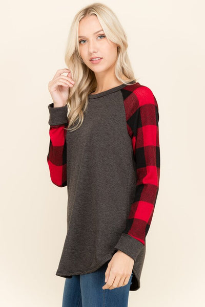 Dylan Buffalo Plaid Contrast Top