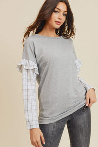 Lacey French Terry Plaid Sleeve Top