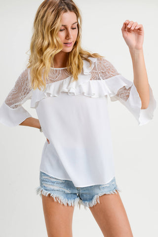Belle Ruffle Blouse with Lace Contrast
