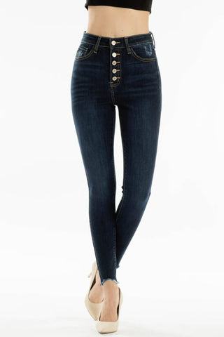 KanCan High Rise Button Fly Dark Wash Skinny Jeans