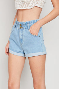 Brooklyn High Waist Roll Up Denim Shorts