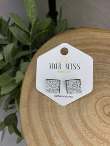 Silver Square Faux Druzy Earrings