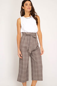 Lola Glen Check Woven Culotte Pants