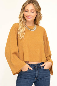 Juliette Long Bell Sleeved Cropped Knit Top
