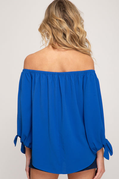 Julia Off The Shoulder Button Down Top