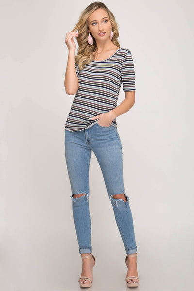 Brielle Short Sleeve Stripe Top