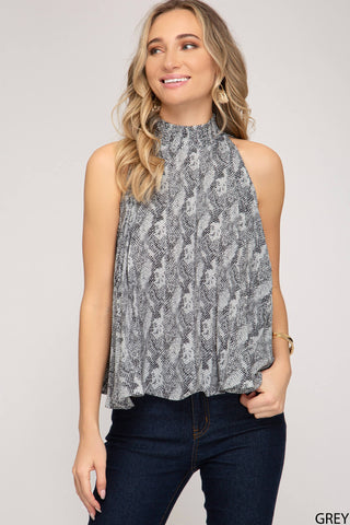Sela Pleated Animal Print Top