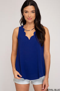 Adalyn Sleeveless Scalloped Neck Top