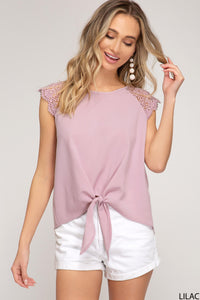Brynlee Lace Cap Sleeve Top