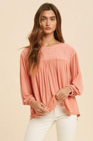 Meredith Eyelet Ribbed Top