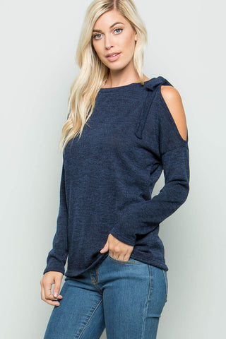 Lucy Asymmetrical Open Shoulder Knit Top