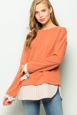 Kennedy Contrast Hem French-Terry Top