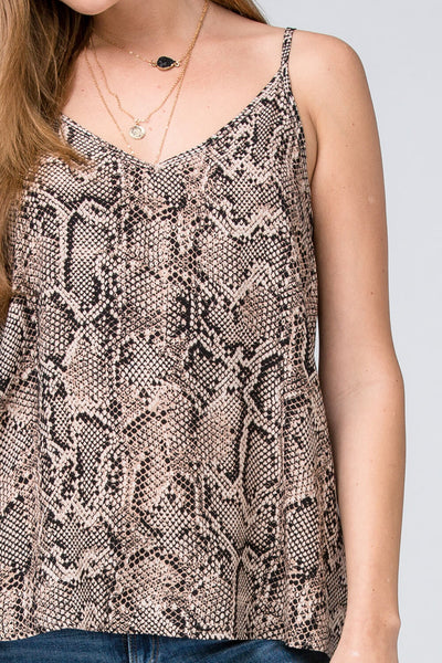 Kaitlyn Reptile Print V-Neck Camisole