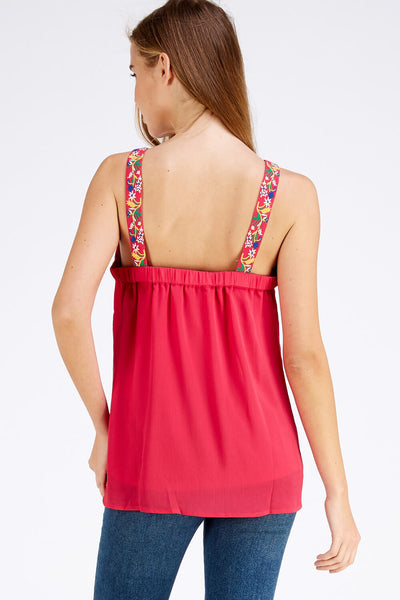 Naomi V-Neck Top with Embroidery Detail