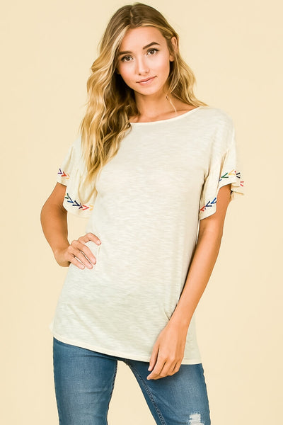 Laine Embroidered Ruffle Sleeve Top