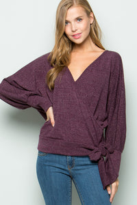 Chloe Lurex Marled Knit Wrap Top