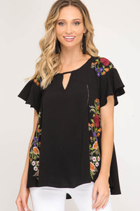 Amelia Embroidered Woven Top