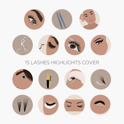 15 Lashes Insta Highlights Covers - JuliPresets