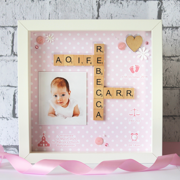 Personalised Baby Girl Scrabble Frame