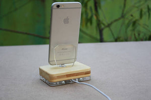 iPhone Charging Bamboo Docking Station iPhone iPad Wooden Charging Stand iPhone 8| ATIK I Bamboo