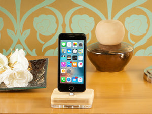 iPhone docking station, bamboo charging station, stand and holder for iPad, Airpods