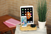 Load image into Gallery viewer, iPhone docking station, bamboo charging station, stand and holder for iPad, Airpods