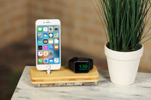 Load image into Gallery viewer, iPhone X Docking Stand iPhone Apple Watch Charging Stand Docking Station Wood Stand Organizer | ATIK II Bamboo