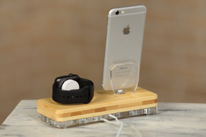 iPhone X Docking Stand iPhone Apple Watch Charging Stand Docking Station Wood Stand Organizer | ATIK II Bamboo