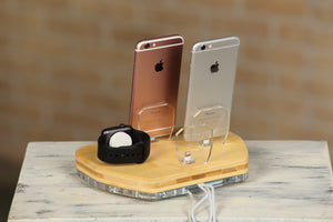 Gift for Men, Apple Watch Charger, Apple Docking Station, Charging Organizer, Multi-Device Docking Station | ATIK IV Bamboo