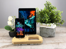 Load image into Gallery viewer, Wood Desk, Organizer, Dual Docking Station, iPhone X iPad Airpods, Desk Organizer Apple Charger  | ATIK II plus Bamboo
