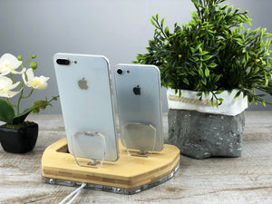 Wood Desk, Organizer, Dual Docking Station, iPhone X iPad Airpods, Desk Organizer Apple Charger  | ATIK II plus Bamboo