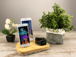 iPhone Dock Station Multi-Device Docking Station iPhone X Charging for Apple Charging Stand Organizer Wood stand | ATIK III Bamboo
