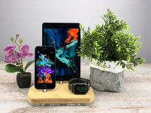 Load image into Gallery viewer, iPhone Dock Station Multi-Device Docking Station iPhone X Charging for Apple Charging Stand Organizer Wood stand | ATIK III Bamboo