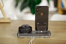 Load image into Gallery viewer, Docking Station,Gift for Him,Wood Dock,iPhone Apple Watch Charging Stand, Docking Station Wood,Charging Stand| ATIK II Gray