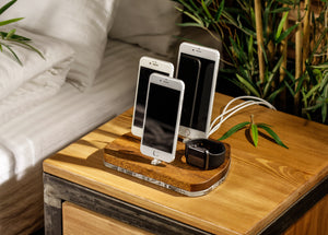 Dock for Apple, Charging Organizer, Multi-Device Docking Station for Apple | ATIK IV Merbau