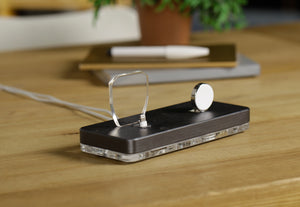 Docking Station,Gift for Him,Wood Dock,iPhone Apple Watch Charging Stand, Docking Station Wood,Charging Stand| ATIK II Gray