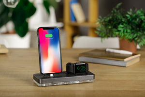 Gift for Him Charcoal Gray Dock iPhone Apple Watch Charging Stand Docking Station Wood Stand Charging Stand| ATIK II Gray