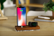 Load image into Gallery viewer, apple watch iphone docking station, iwatch wooden stand, airpods holder