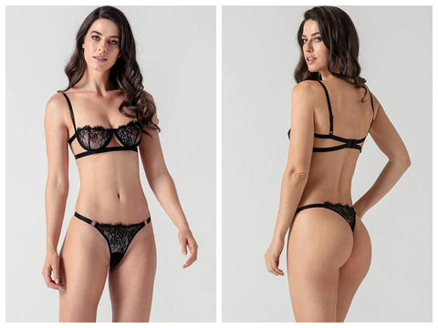 Lace Strappy Bra Set-Evalamor
