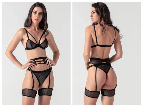 Hollow Fishnet Lingerie Set-Evalamor