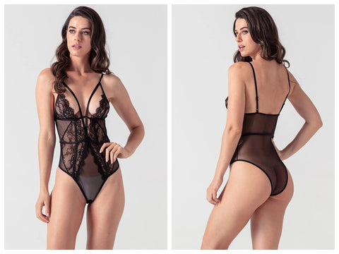 Black Deep V Strap Playsuit-Evalamor